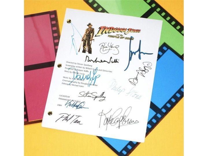 Indiana Jones and The Temple of Doom Movie Screenplay Script Autographed: Steven Spielberg, George Lucas, Harrison Ford, Kate Capshaw