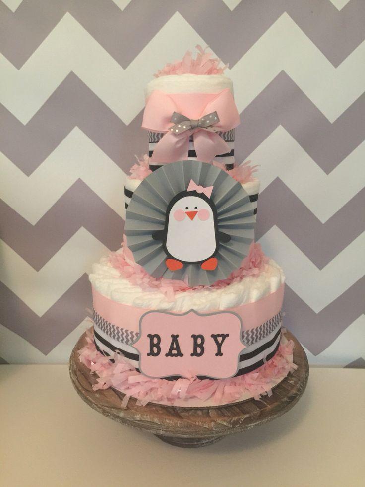 Penguin Diaper Cake for Girls, Penguin Baby Shower Centerpiece, Decorations by AllDiaperCakes on Etsy https://www.etsy.com/listing/467503114/penguin-diaper-cake-for-girls-penguin