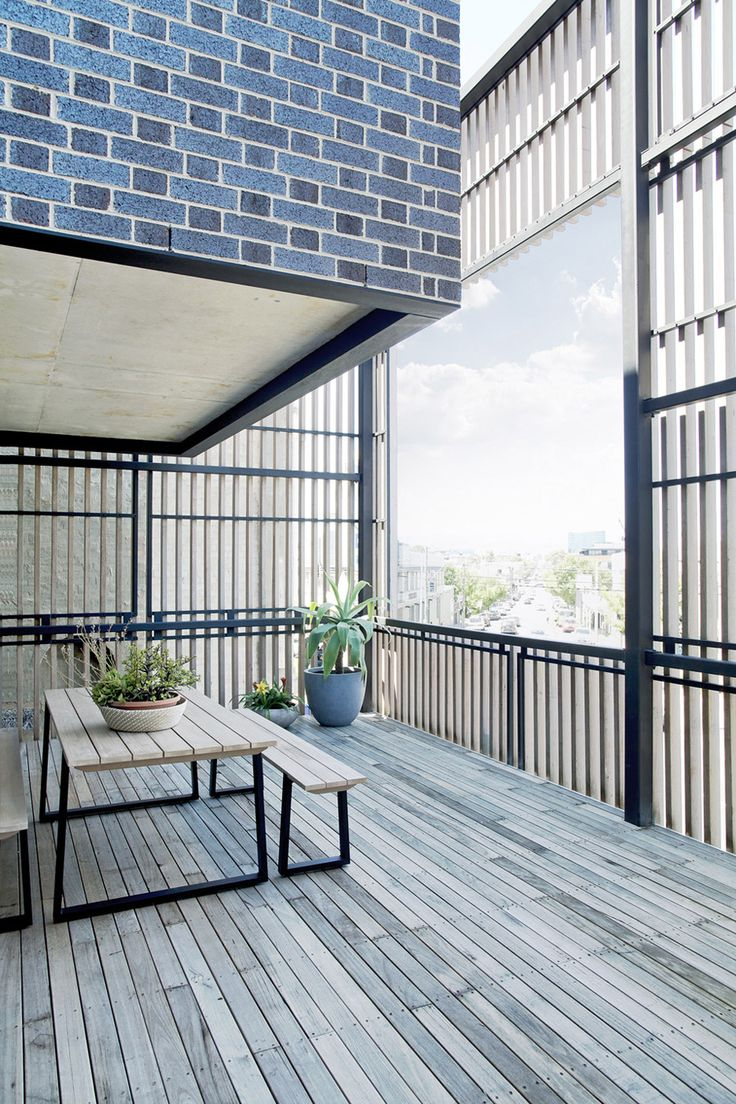 Ari: A Residential Tribute to Brick   privacy screening deck