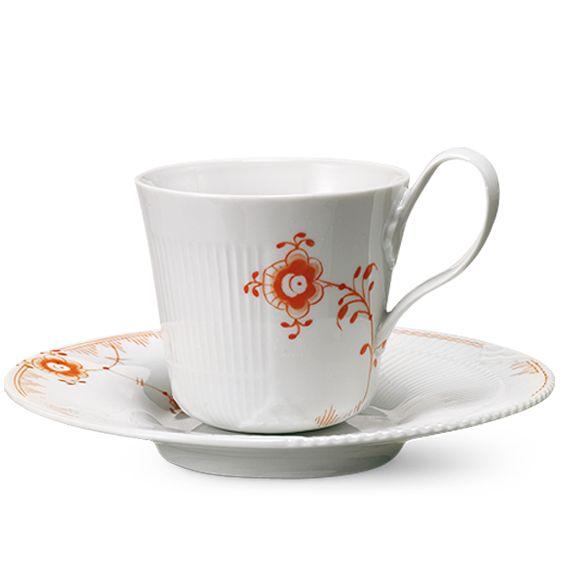 Royal Copenhagen Multicoloured Elements High handle cup & saucer 25 cl - Tangerine