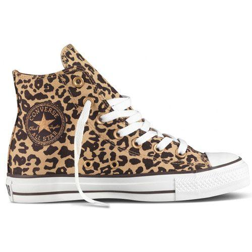 Converse Chuck Taylor All Stars Hi Cheetah Shoe Tan Brown Footwear Shoes Black