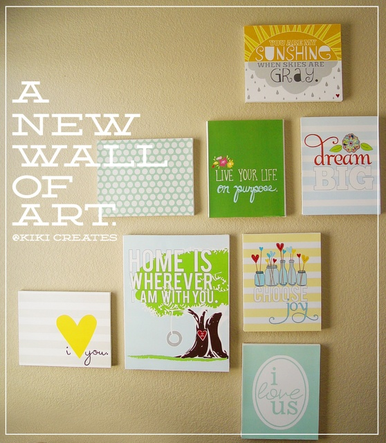 Love this canvas wall art by Kiki Creates.  She gives you a tutorial of how to do and links for the prints.  Her prints are so cute!!