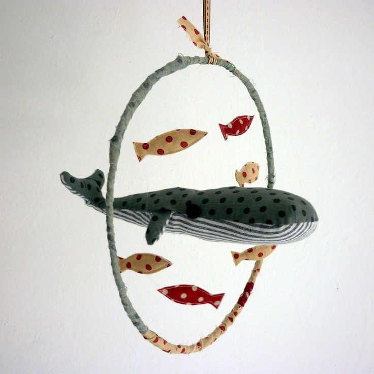Spotty whale and fish hanging mobile baby nursery by kirstyelson, £25.00