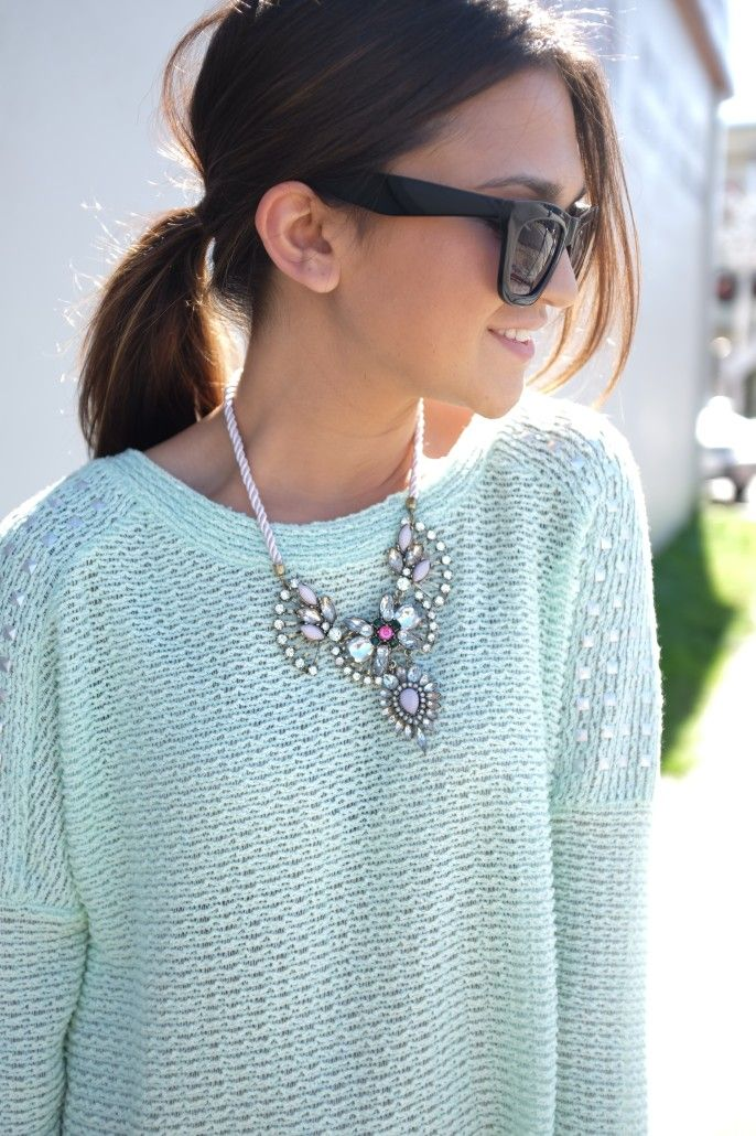 Mint sweater + pastel statement necklace. This is soft and pretty with any pastel colors of statement necklace and sweater.