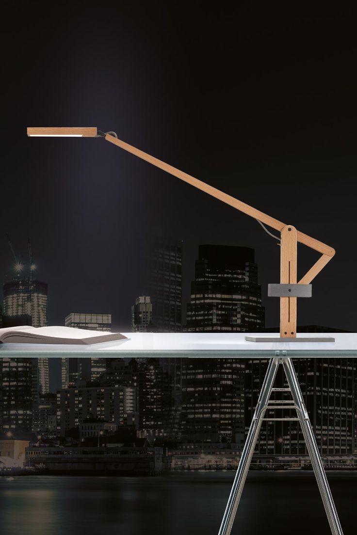 Awesome Lampe De Bureau Bois Naturel Et Acier Brut Leva. Wooden LampDesk ... Design Ideas