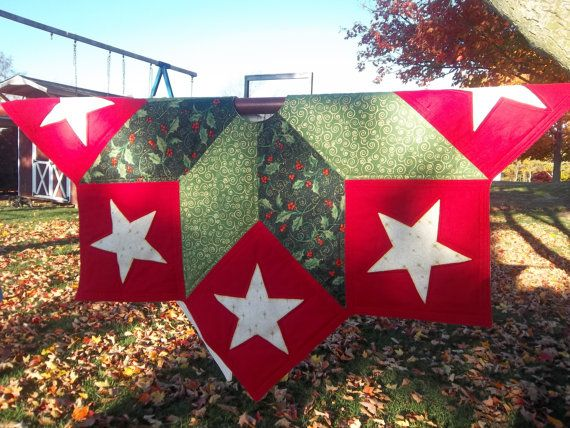 Quilted Star Christmas Tree Skirt With Gold Accent By Krissyde