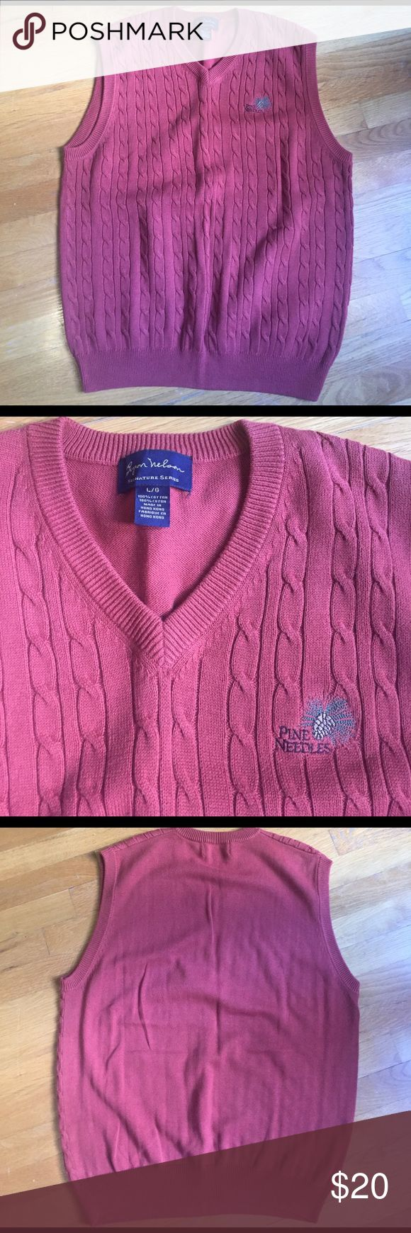 Pine Needles Golf Sweater Vest EUC Great condition Byron Nelson golf sweater dress.  Color is a burnt sienna/ dark orange. Byron Nelson Sweaters