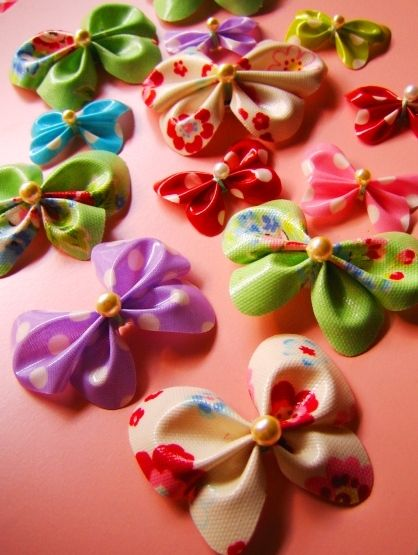Fabric vinyl butterfly hairclips