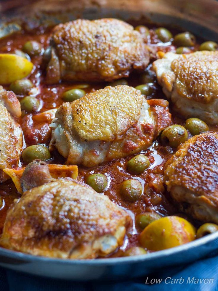 This easy Moroccan Chicken is cooked in 1 pan and flavored with Lemon and Olives | low carb, gluten-free, dairy-free, paleo, keto, thm