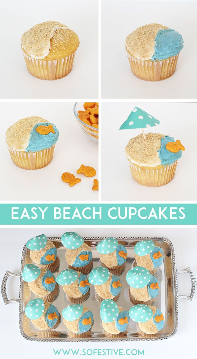 Easy Beach Cupcake Tutorial