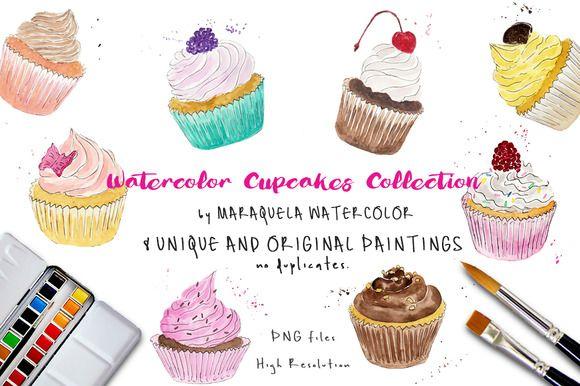 Watercolor Clip Art - Cupcakes watercolor illustration by MARAQUELA WATERCOLOR.