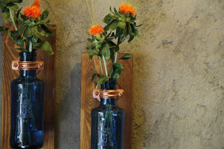 Vazo / Çevre Dostu Dekoratif / tek Zet.com'da 110 TL DIT  Glass Bottle & Wood Vase Recyhle