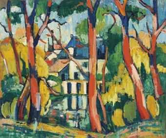 MAURICE DE VLAMINCK (1876-1958)   ARBRES À LA MAISON BLEUE