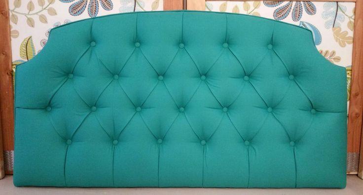 Turquoise emerald tufted upholstered headboard custom wall mounted