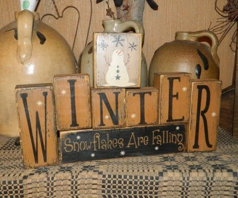 WINTER SNOWFLAKES ARE FALLING PRIMITIVE SIGN--this would even be more brilliant to put on the back of frosty the snowman sign and could just switch from Christmas to winter decor easily