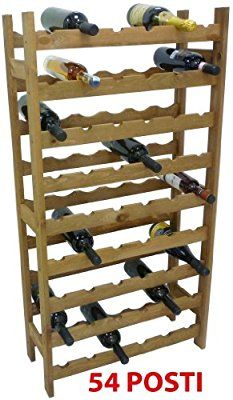 Mobile porta bottiglie cantinetta vino in legno Noce marrone 54 posti per enoteca cantina salotto portabottiglie