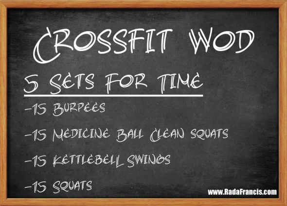 5 RFT: 15 burpees, 15 medicine ball cleans, 15 KB cleans, 15 squats