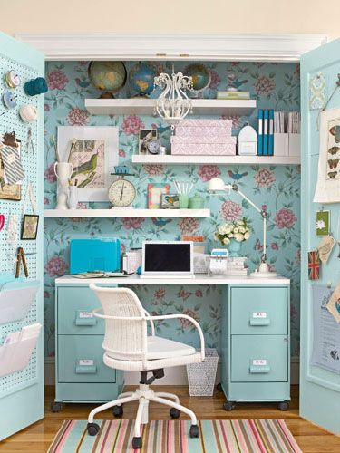 Dual Functionality   Transform a cluttered closet into an accessible workspace that is blooming with inspiration.    Read more: Home Office Ideas - How to Decorate a Home Office - Country Living