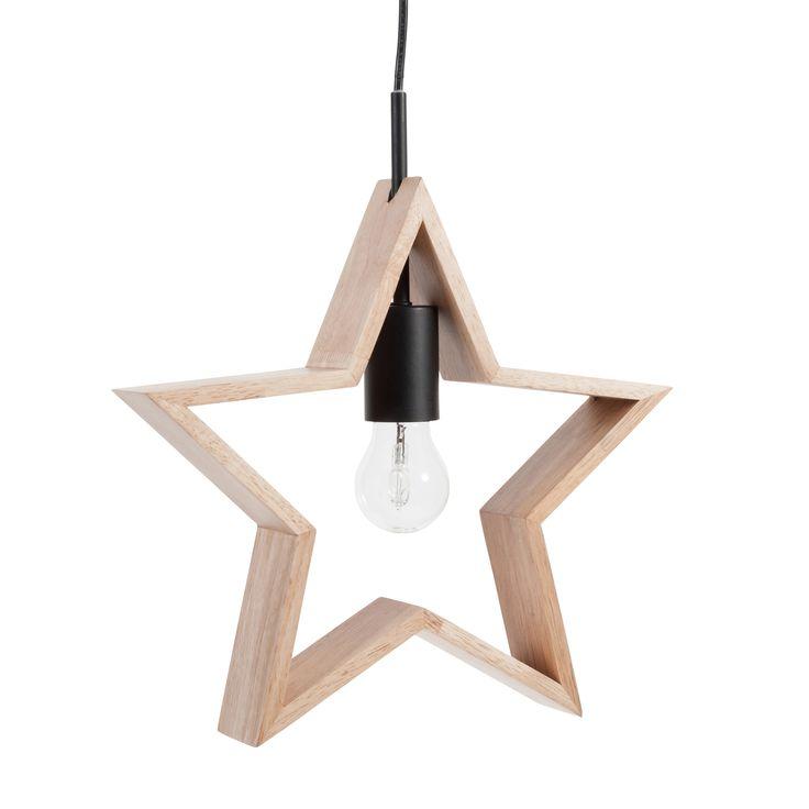 Hängelampe Stern ORION aus Holz D 33 cm