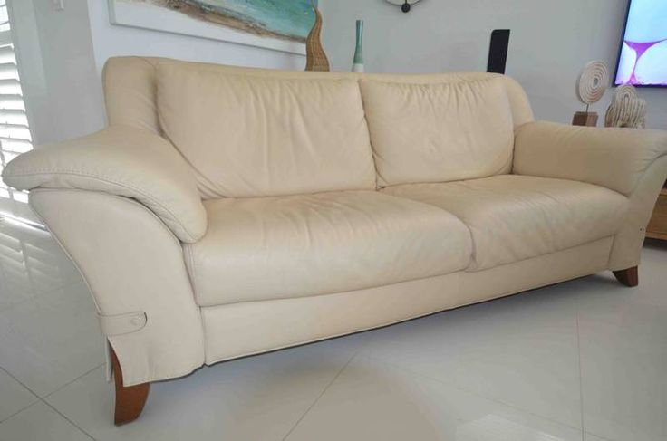 Natuzzi Beige Leather 2 1/2 seater lounge Burleigh Heads Gold Coast South image 3