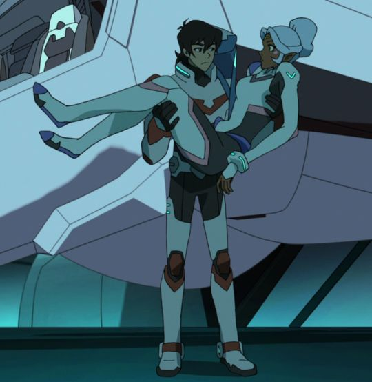 Keith holding and carrying Princess Allura in his arms from Voltron Legendary Defender season 2