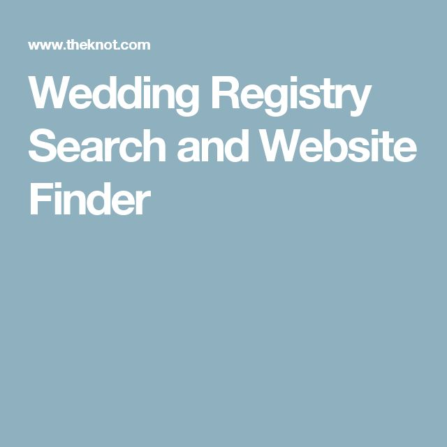 Wedding Registry Search and Website Finder