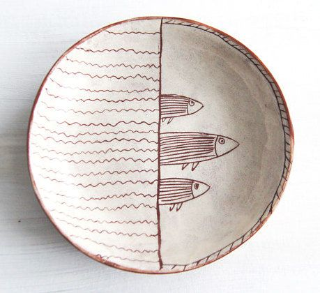 Cereal Bowl-Fish Art-Pottery Plate-Beach House Decor-Breakfast Bowl