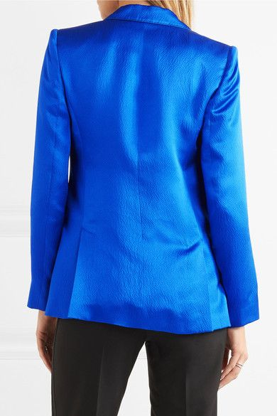 Max Mara - Hammered Silk-satin Blazer - Royal blue - UK12