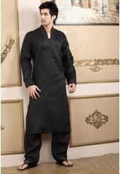 Black Linen Embroidered Pathani Suit