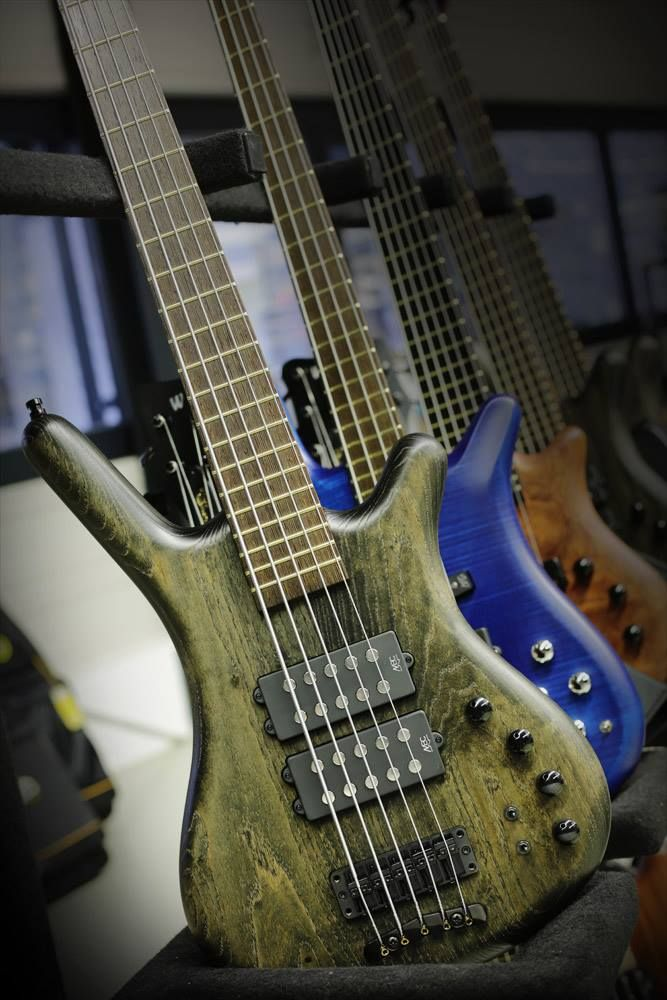 """Five string bass collection: Framus & Warwick Corvette, 3/8"""" Spalted Maple in forest green, royal blue, brown wood tone. RESEARCH- BASSes OF LIFE - https://www.pinterest.com/DianaDeeOsborne/basses-of-life/ - Framus factory produced  1946- 1970s classical violins, Attila Zoller guitars, & the legendary Star Bass. Mseum shows unique variety for this German instrument manufacturer. As a precursor to industrial guitar production in Europe. Framus created array of innovations & developments."""