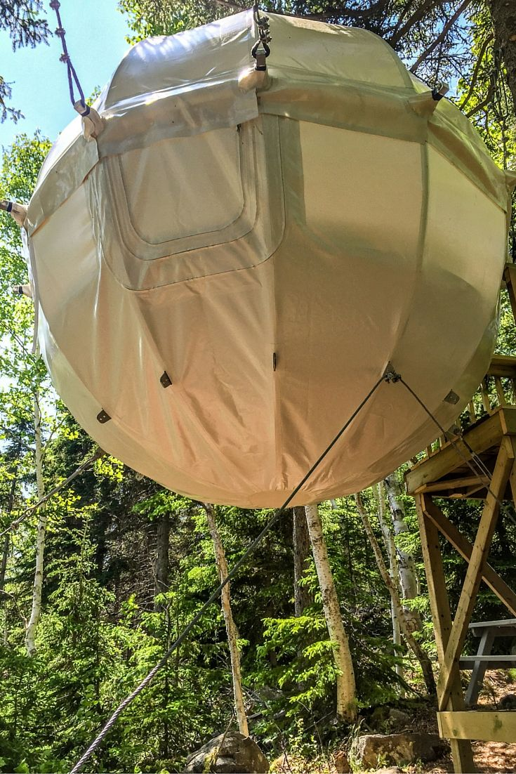 How's this for unique travel accommodations? This is a cocoon in Cape Breton Highlands National Park along the Cabot Trail in Nova Scotia, Canada, and guests can stay in the cocoon overnight and enjoy
