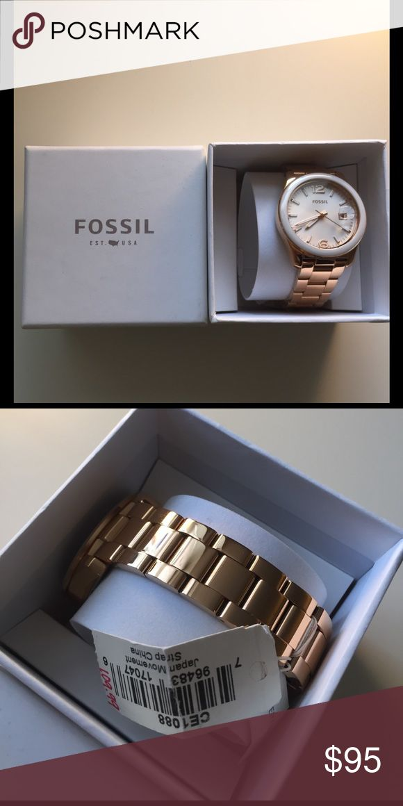 "Women's Fossil Watch – ""Perfect Boyfriend"" Rose This is a brand new boxed and tagged Fossil Watch. It was purchased for $109.99 + tax and is still listed as such on their site. The full model is Fossil Women's Watch ""Perfect Boyfriend"" Rose-Tone Stainless Steel. Fossil Accessories Watches"