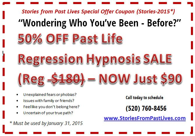 Everyone has a past life story - and now you can find yours with the limited time offer. Get a two hour past life regression hypnosis session (normally $180) for only $90.