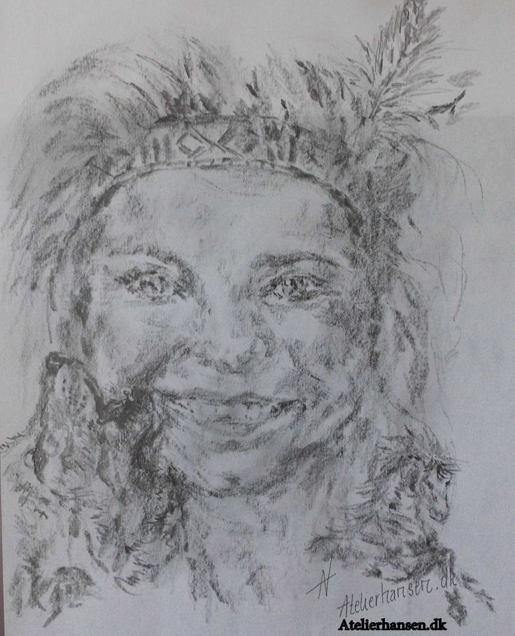 Indian girl's innocent smile. Pencil drawing on paper.