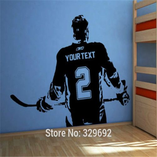 Hockey player Wall art Decal sticker Choose Name number personalized home decor