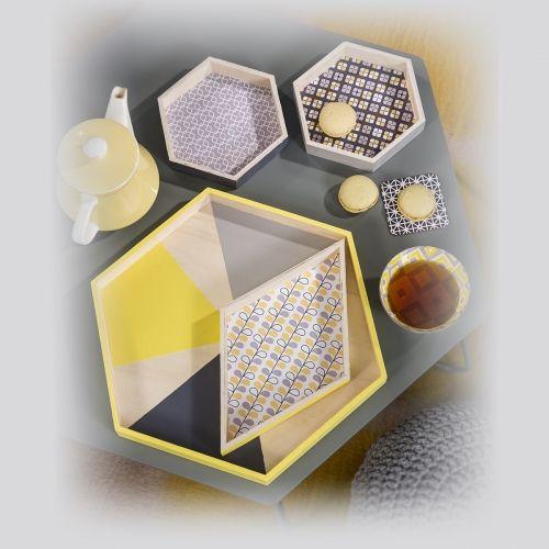 4 plateaux modulables - hexagones - 40 cm  - Collection Cultura