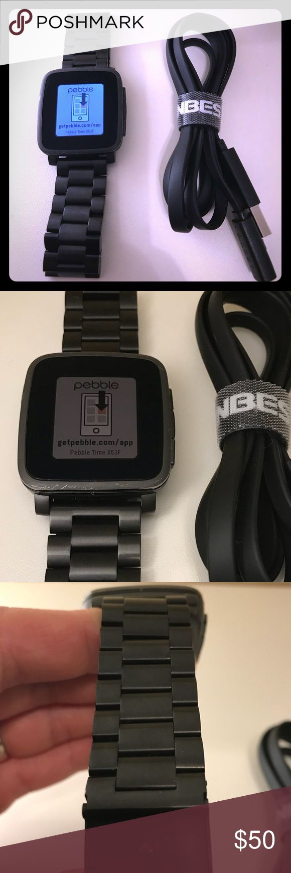 Pebble Steel Watch,Matte Blk, Stainless Steel Band Pebble time steel is a smart watch compatible with iOS and Android. I used it for iOS and it has some limitations. I used mainly for receiving text msg and email. Connects via Bluetooth. Battery lasts up to 10 days. It has color. Includes Pebble health, Built-in activity and sleep tracker and many more. You can download specific pebble apps from the pebble app itself (games, watch faces...etc). Tough, 2.5D glass display. USB Magnetic…