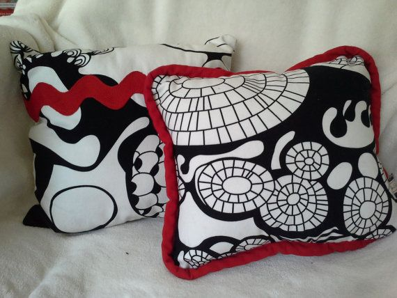 Retro Black & White Decorative Throw Pillows Set by NikiStix, $20.00