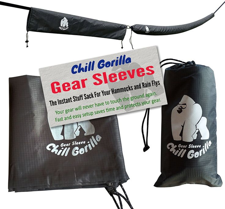 """Amazon.com: CHILL GORILLA GEAR SLEEVES - SNAKESKINS. Instant Stuff Sack For Your Hammock, Rain Fly, or Tarp. 173"""" Total. Tube Packs or Unpacks Your Gear In 30 Seconds. [Essential Camping and Survival Gear] GREY: Sports & Outdoors"""
