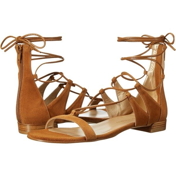 Stuart Weitzman Tieup (Camel Suede) Women's Dress Boots ($180) ❤ liked on Polyvore featuring shoes, sandals, tan, tan gladiator sandals, dressy shoes, gladiator sandal, metallic gladiator sandals and flat gladiator sandals
