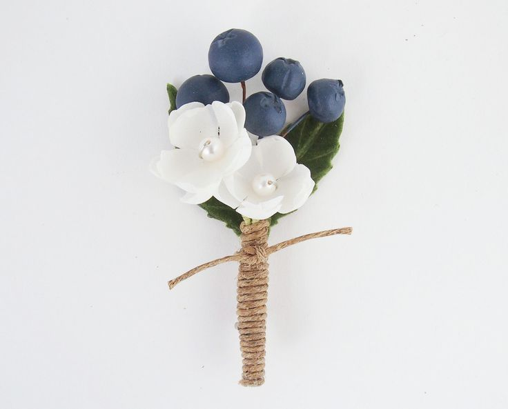 Blueberry Wedding Boutonnier - could we do with real flowers?
