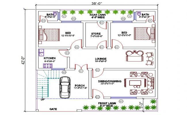 Architectural House Plan Dwg File Cadbull Architectural House Plans House Plans Tiny House Floor Plans