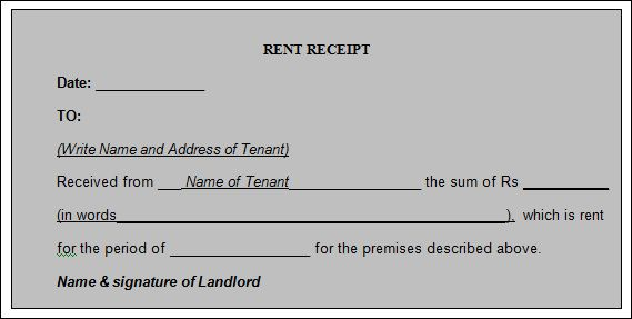 12  house rent receipt formats