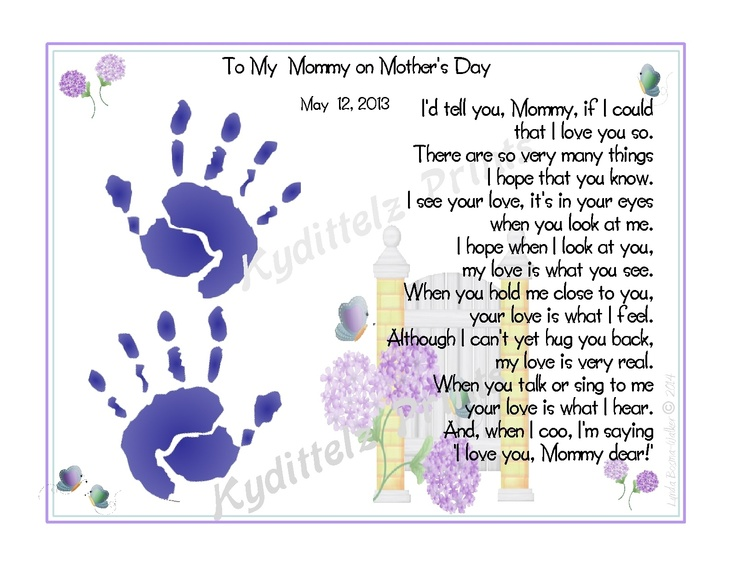 Babys Love to Mommy Poem Handprints 1st Mother's Day New Mother Shower ...