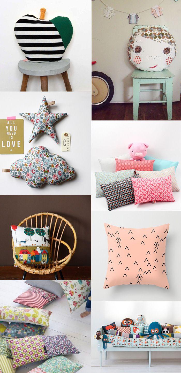 {1. apple 2. boy cushion 3. caroline briel 4. petit pan 5. jane foster pillow 6. rk design 7. mr