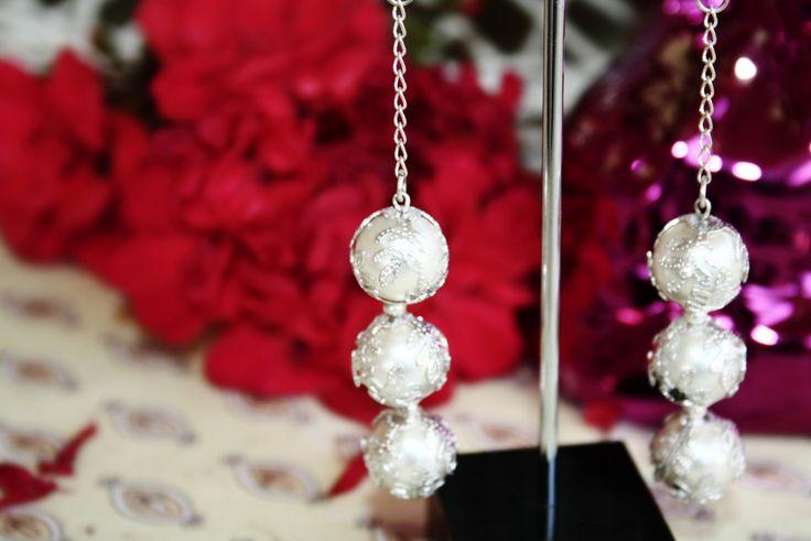 Pearl Bridal Spanish Wedding Silver Filigree Drop Earrings by BleakDesigns on Etsy