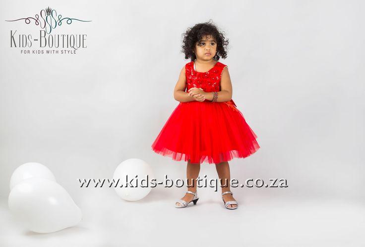 Bright Red Dress High Wasteline & Flower Detail