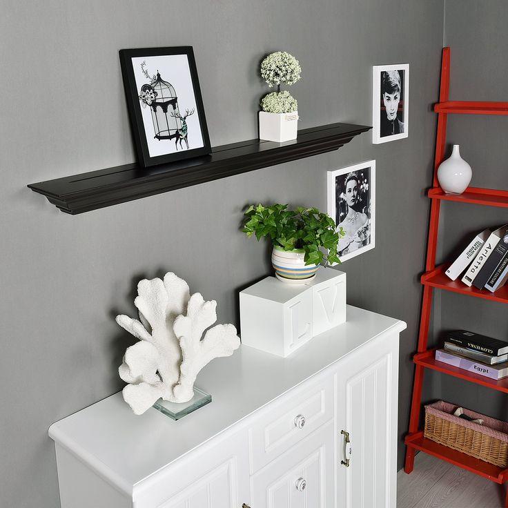 WELLAND 36-Inch Espresso Corona Crown Molding Floating Wall Display Shelf
