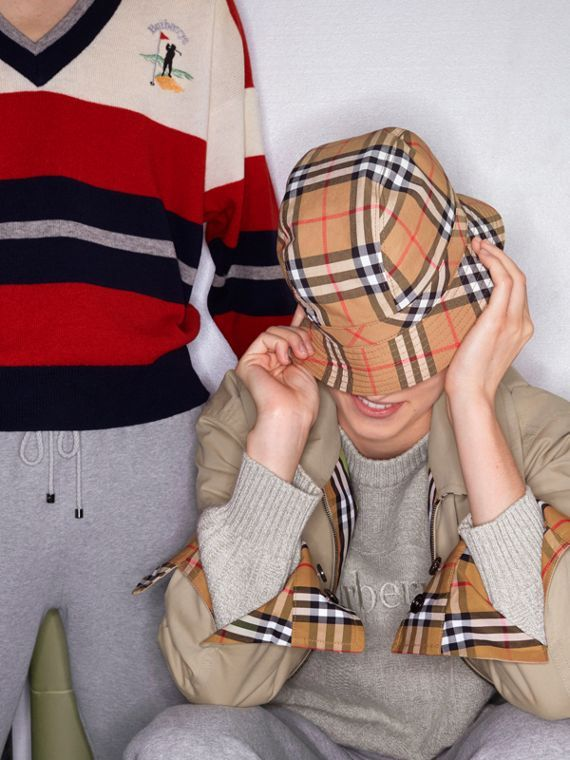 05a76aded1e22 A cotton bucket hat woven in  Burberry archive-inspired check from the 1960s   VintageCheck