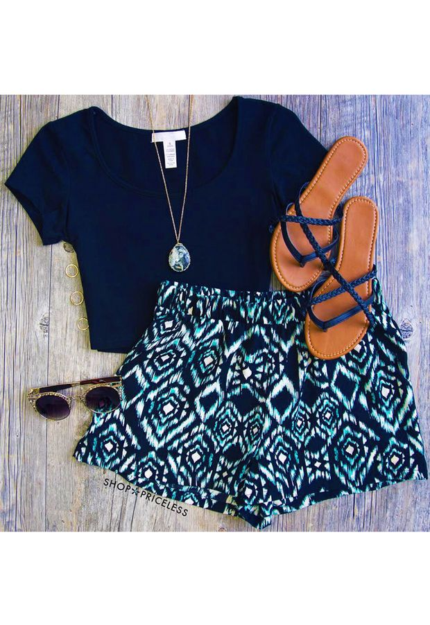 Ocean Wave Aztec Shorts